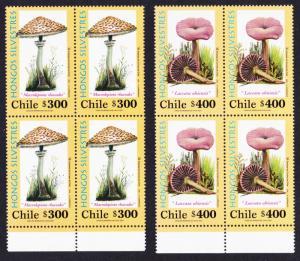 Chile Fungi 2v Blocks of 4 Bottom margins SG#2001-2002 MI#2024-2025 SC#1368-1369
