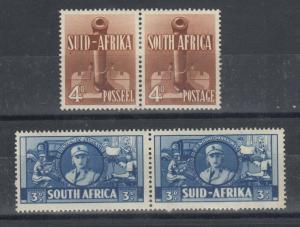 South Africa 1941 3d/4d War Effort Bilingual Pairs SG91/92a MH J5920