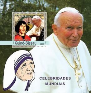 GUINE BISSAU 2003 SHEET POPE JEAN PAUL II MOTHER TERESA COPERNIC COPERNICUS