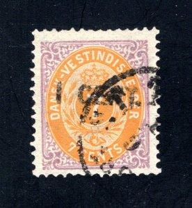 Danish West Indies #14,  F/VF,  Used  CV $200.00 ....1630014