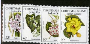 CHRISTMAS ISLAND 183-186 MH SCV $2.75 BIN $1.10 FLOWERS