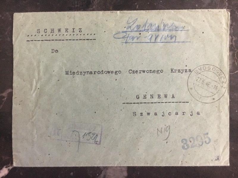 1946 Wabrzezno Poland Cover Registered to Geneva Switzerland Hand