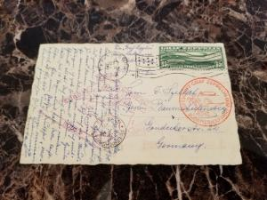 1930 USA Graf Zeppelin postcard cover Around the World # C13 to Germany