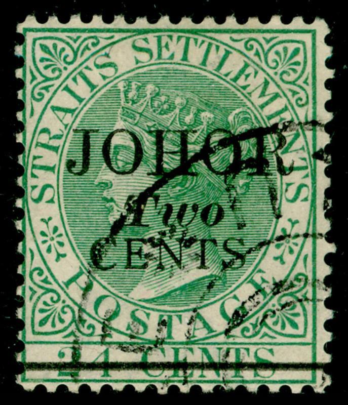 MALAYSIA - Johore SG17, 2c on 24c green, FINE used. Cat £40.