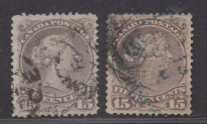 **Canada SC# 29, 29b, Used, FVF/VF, Color Variation