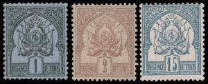 TUNISIA 1888-1897 COAT OF ARMS MH #1, 2 & 4 CV$67.50 Maury @ €98