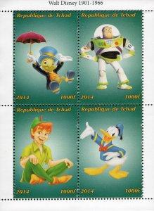 Chad 2014 Walt Disney Buzz Lightyear Donald Duck Peter Pan Cartoons S/S. (#110)