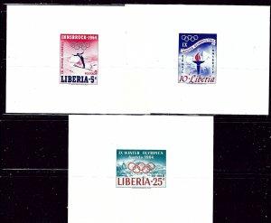 Liberia 413 and C157-58 MNH 1964 Olympics Presentation Sheets    (ap2601)