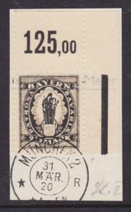 Bavaria Sc 255 used 1920 2½m Madonna & Child Sheet Corner on Small Piece VF