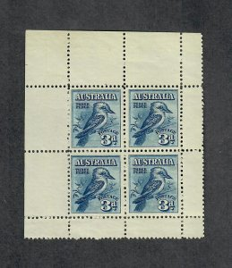 Australia Sc#95a M/NH/VF, Pane Of 4 Kookaburra, Cv. $260
