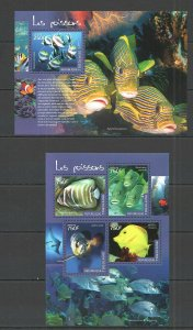 TG413 2014 TOGO FAUNA FISH & MARINE LIFE LES POISSONS KB+BL MNH