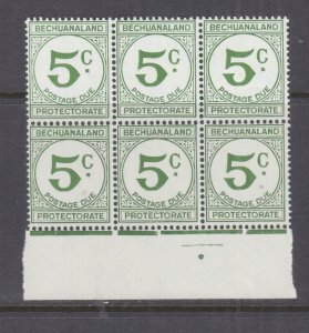 BECHUANALAND, POSTAGE DUE, 1961 Decimal Currency, 5c. Green, block of 6 mnh.