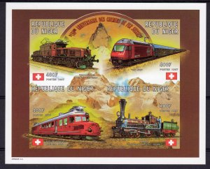 Niger 1997 Sc#957 Trains of Switzerland  Flags Sheetlet (4) IMPERFORATED MNH