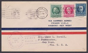 CUBA 1927 first flight cover Havana to Key West Florida.....................P163