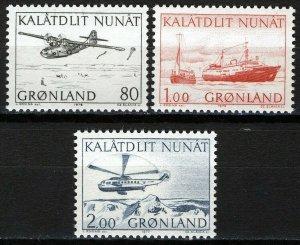 Greenland 1976-77, Transportation issues VF MNH, Mi 98-100