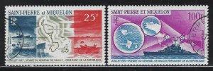 St Pierre & Miquelon 1967 de Gaulle's Visit set Sc# C35-36 used