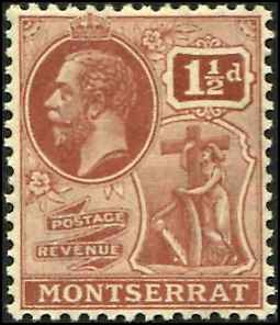 Montserrat SC# 60  KGV 1-1/2d wmk 4 Toned Gum