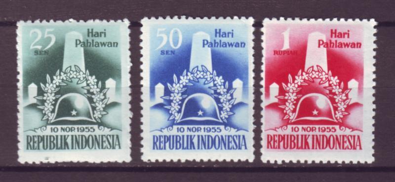 J21026 Jlstamps 1955 indonesia set mh #418-20 monument