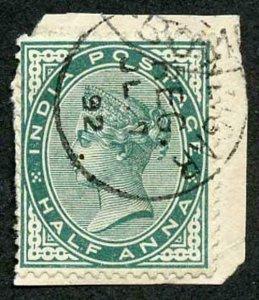 Zanzibar SGZ81 1882-90 India 1/2a Blue-green 7 July 92 with CDS (type Z6) Used