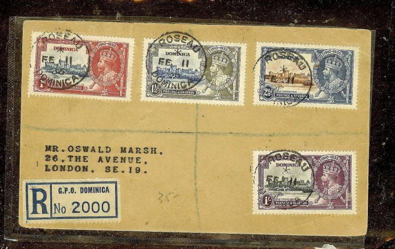 DOMINICA (P2110B)  SILVER JUBILEE SET ON REG COVER TO ENGLAND