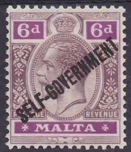 MALTA 1922 SELF GOVERNMENT OVERPRINTED KGV 6D WMK MULTI SCRIPT CA