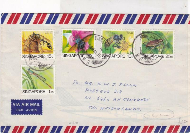 singapore 1986 assorted insects air mail stamps cover ref 20515