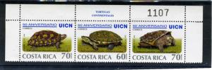 COSTA RICA 1998 Turtles strip of 3v Perforated Mint(NH)