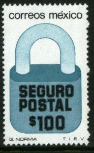 MEXICO G40, $100P Padlock Insured Letter Unwmk Fluor Paper 5. MINT, NH. VF.