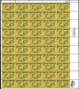 South Carolina Sheet of Fifty 6 Cent Postage Stamps Scott 1407