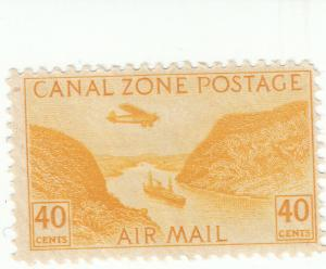 Canal Zone, Scott #C13 - 40c Yellow - Mint Hinged