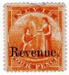 (I.B) Nevis (St Kitts) Revenue : Duty Stamp 4d (1879)