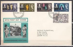 Great Britain, Scott cat. 402-406. William Shakespeare issue. First Day Cover.