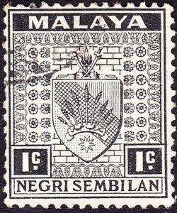MALAYA NEGRI SEMBILAN 1935 1c Black SG21 Fine Used