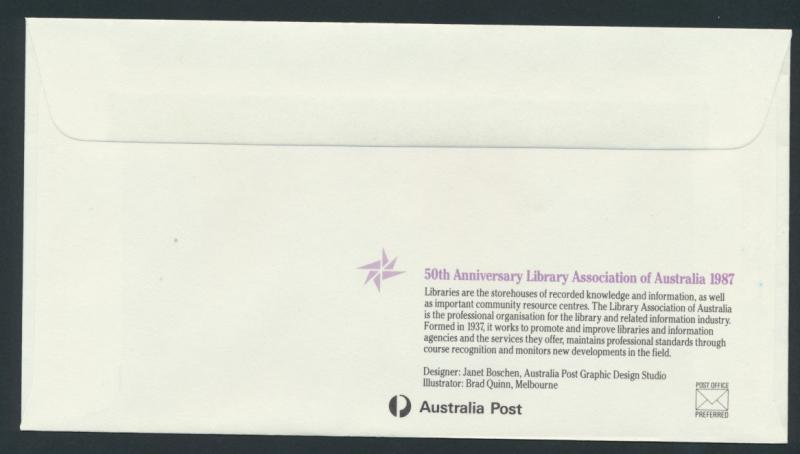 Australia PrePaid Envelope 1987 50th Anniv Library Association of Australia