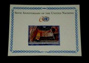 U.N. 2005, NEW YORK #875, 60th ANNIVERSARY, SOUVENIR SHEET, MNH, NICE! LQQK!