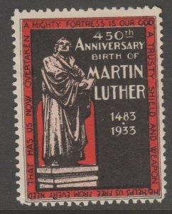 USA  Martin Luther 1933 Cinderella stamp 6-12-21 no gum