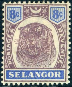 Selangor SG56 1895 8c Dull Purple and Ultramarine Mounted Mint