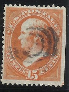 163 15c Used F/VF Centering SE on right, Guide Arrow visible at bottom of it