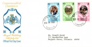 Dominica 701-703 Royal Wedding Typed FDC