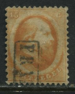 Netherlands 1864 15 cents orange choice used