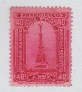 Peru Telegraph fiscal Revenue stamp 12-22c-