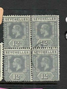 SEYCHELLES  (P2605B)  KGV   12C   SG 107A   BL OF 4    VFU