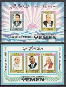 Yemen, Kingdom. Mi cat. 552, 556, BL119-20 B. Human Rights. Pres. J. Kennedy. ^.