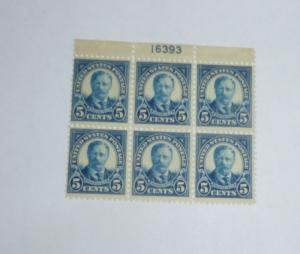 #557 Teddy Roosevelt 5 cent plate blocki
