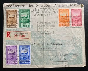 1936 Luxembourg First Day Cover FDC To Paris France Philatelic Exhibition Cancel