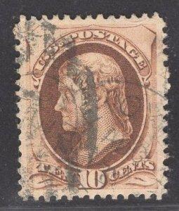US Stamp #188 10c Brown Jefferson USED SCV $30.00