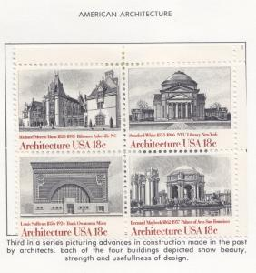UNITED STATES  ARCHITECTURE   USA 15C IN BLOCK MINT LIGHT HINGED