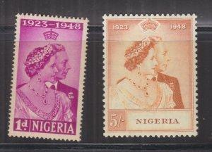 NIGERIA, 1948 Silver Wedding pair, mnh.
