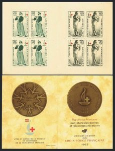 France B374-B375a booklet,MNH. Red Cross-100,1963.Design by Manet,d'Angers.