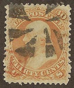 71 Used XF+, 30c. Franklin,   Red Cancel, ***Gem***